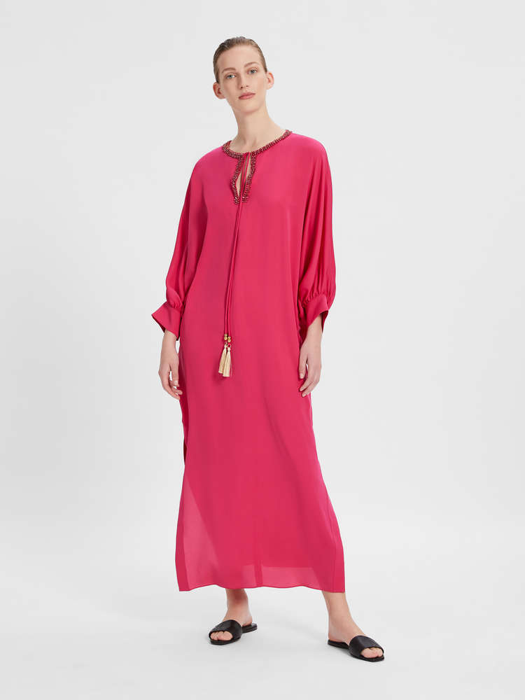 Silk charmeuse kaftan dress