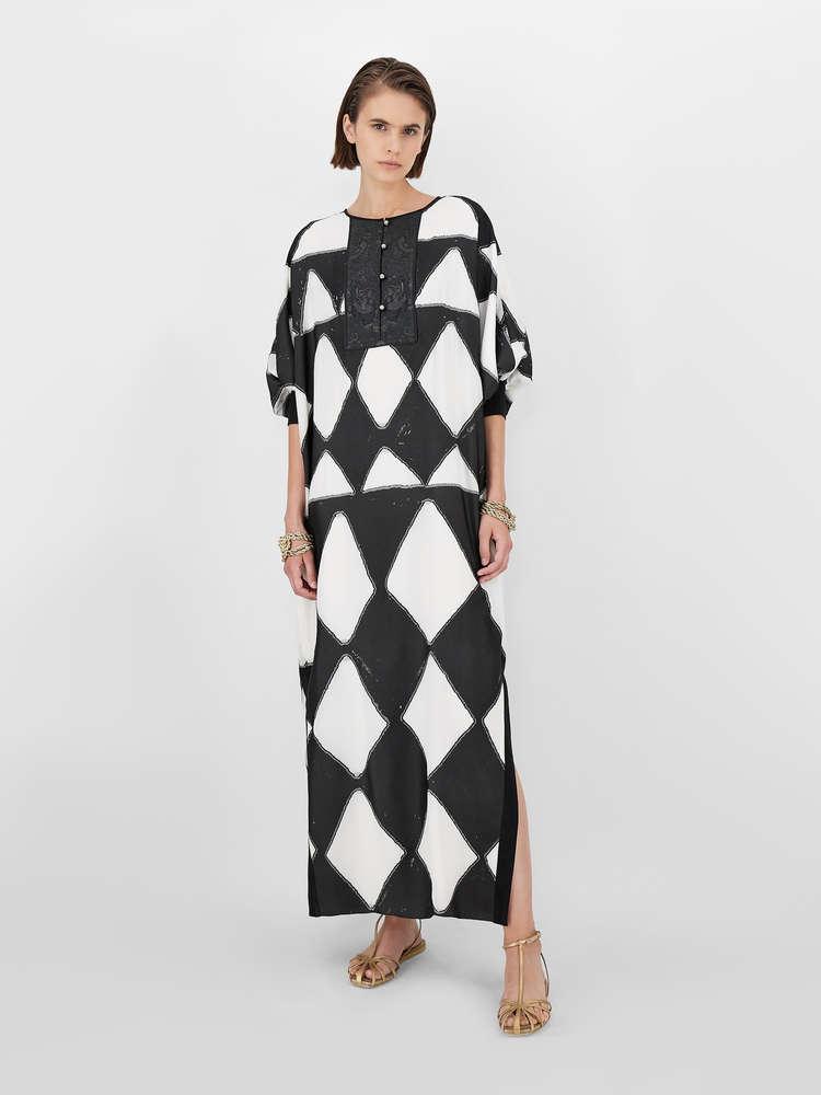 Silk fil coupé dress kaftan dress
