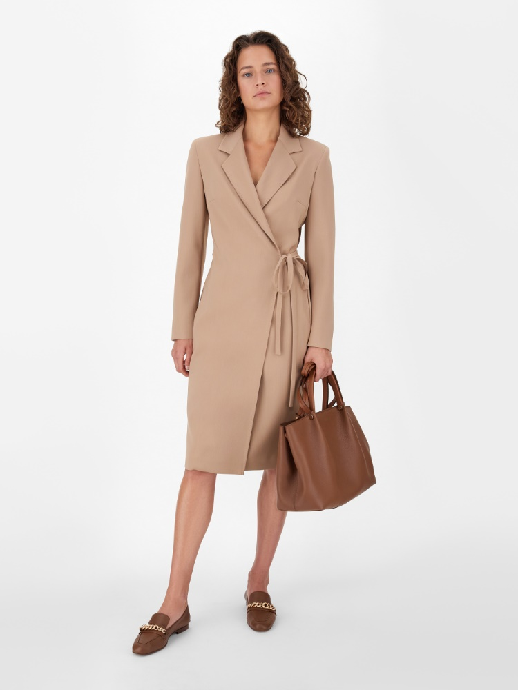 Robe manteau dress in stretch wool crêpe