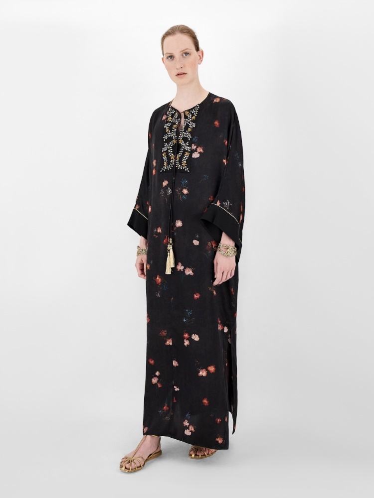 Printed silk satin kaftan dress