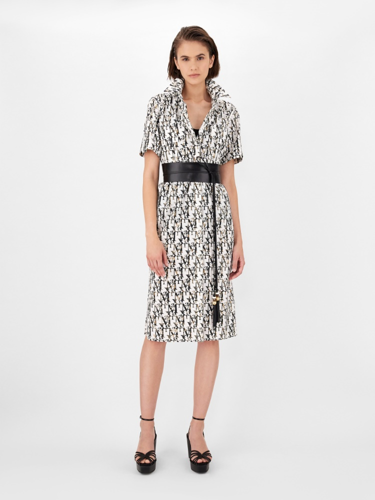 Printed cotton poplin dress