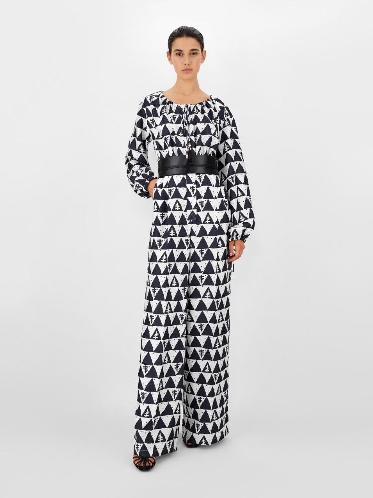 Printed pure silk twill jumpsuit