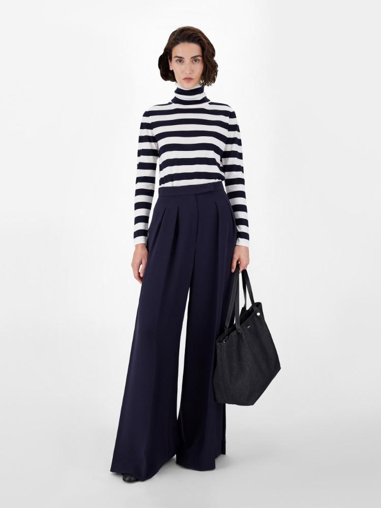 Striped pure virgin wool yarn jumper