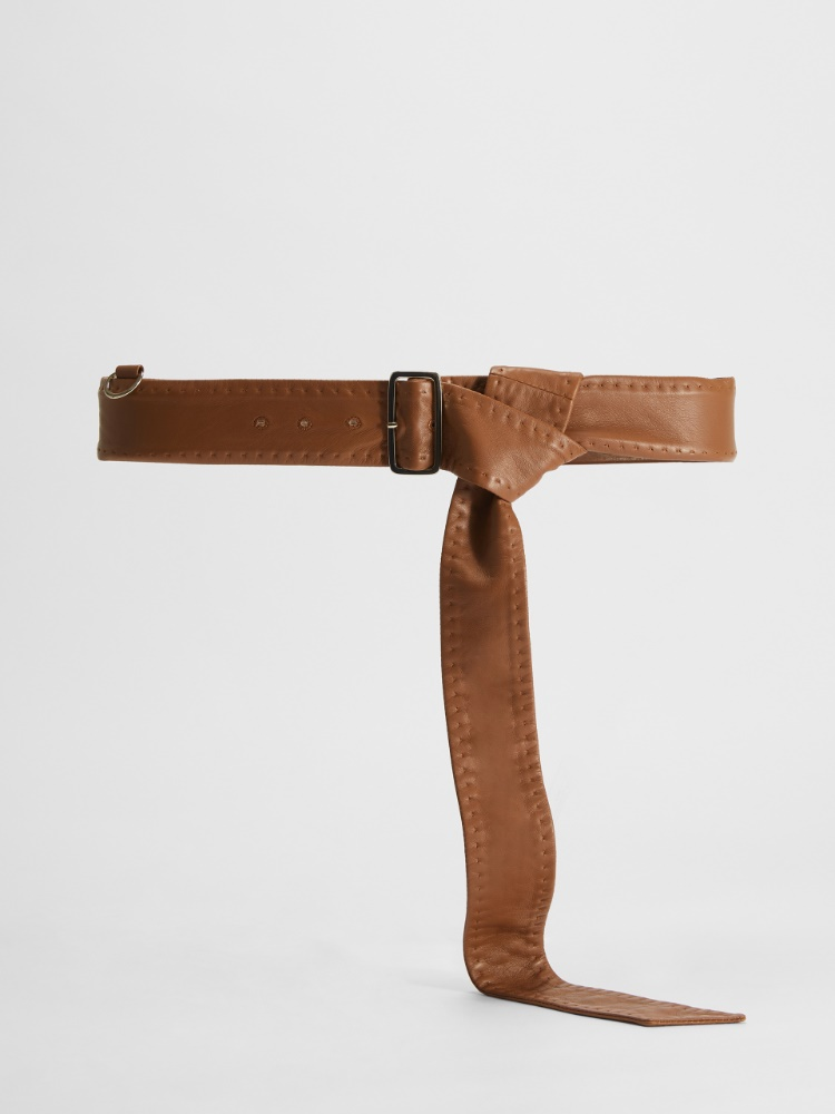 Men's-style nappa leather belt with buckle