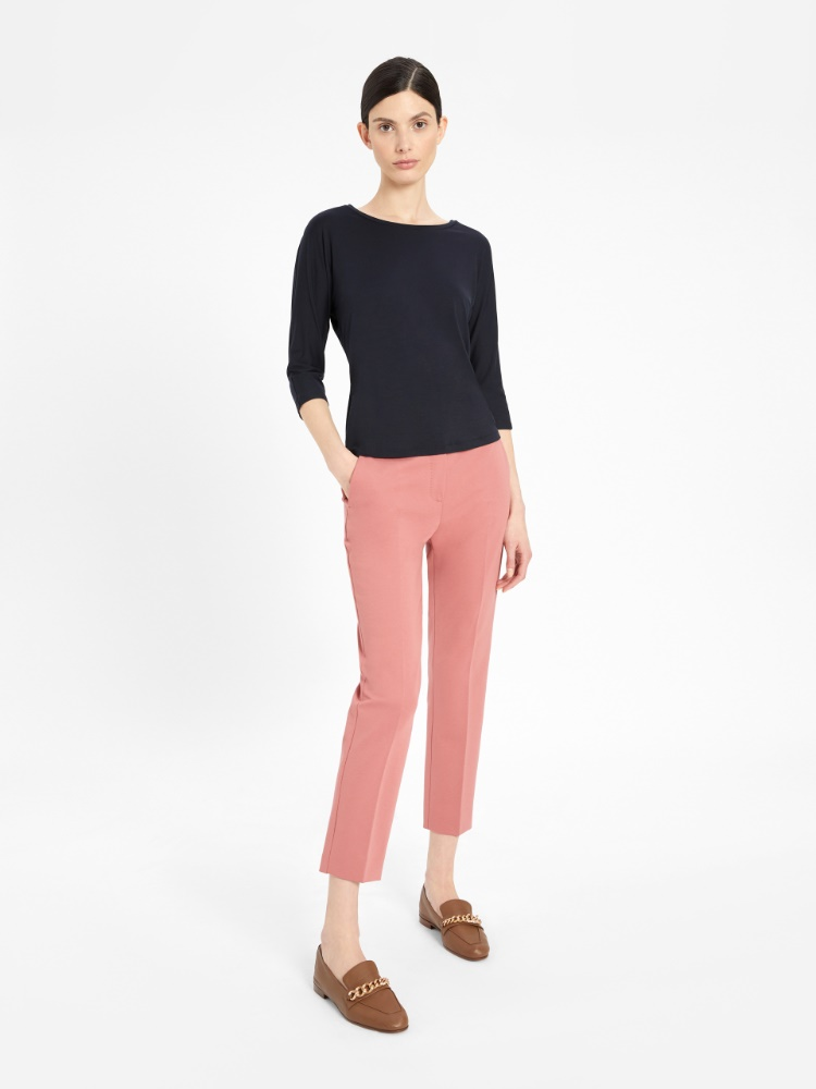 Cotton and viscose jersey trousers