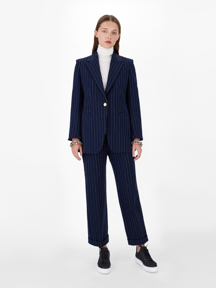 Pinstriped cotton and viscose jersey trousers