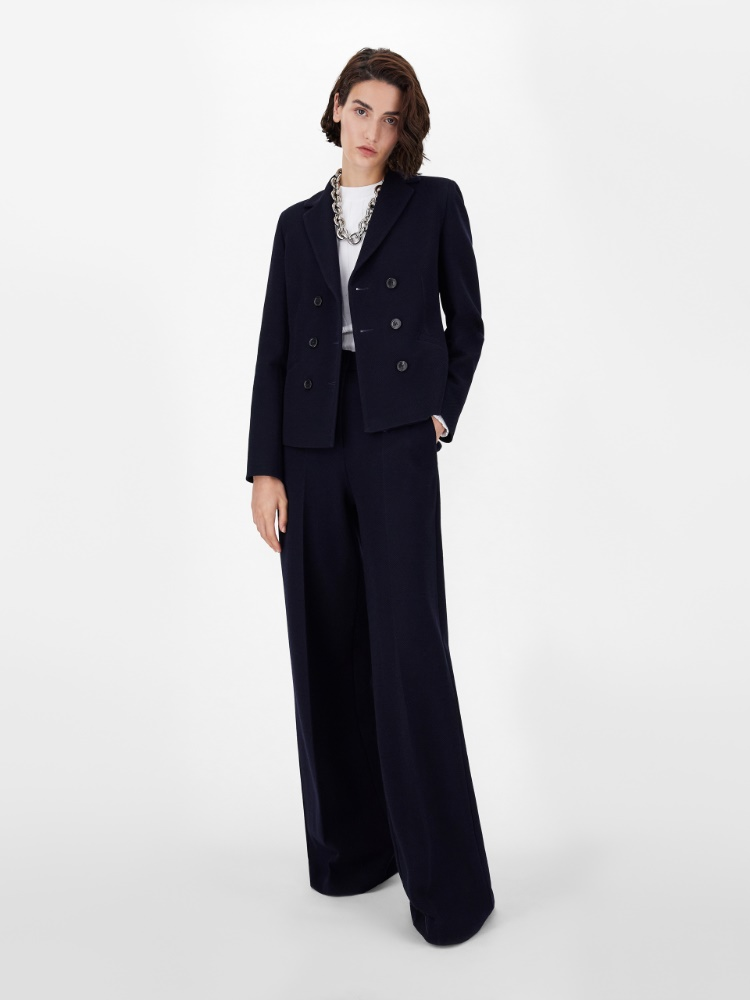 Cotton and wool jersey trousers
