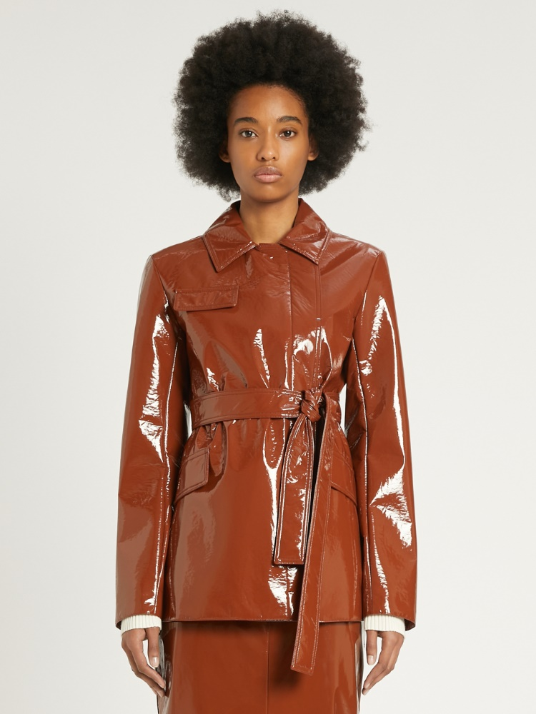 Patent leather trench coat