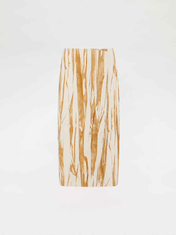 Graphic-print wrap skirt