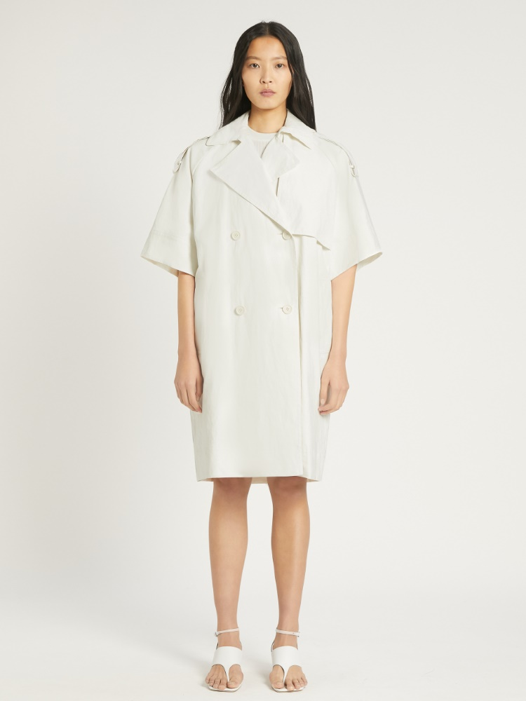 Linen canvas trench coat