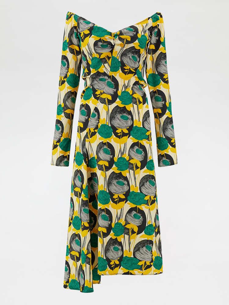 Asymmetric-hem sleeveless dress