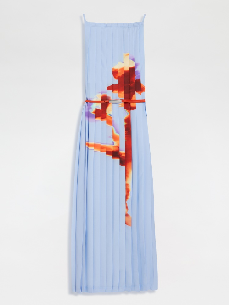 Pleated crepe de chine dress