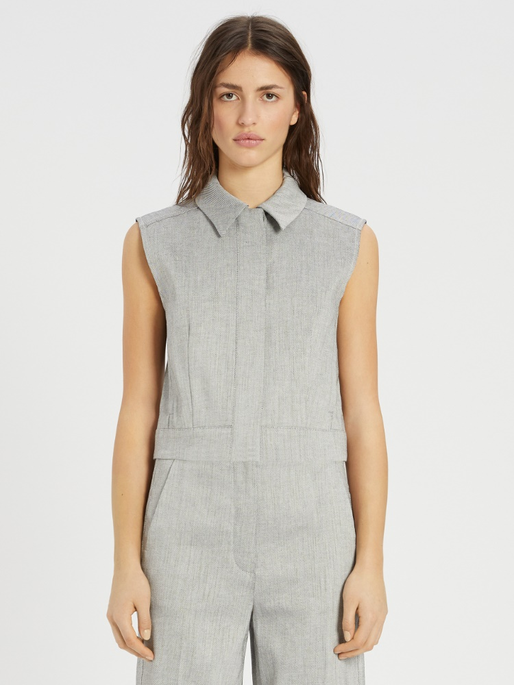 Linen and cotton twill waistcoat