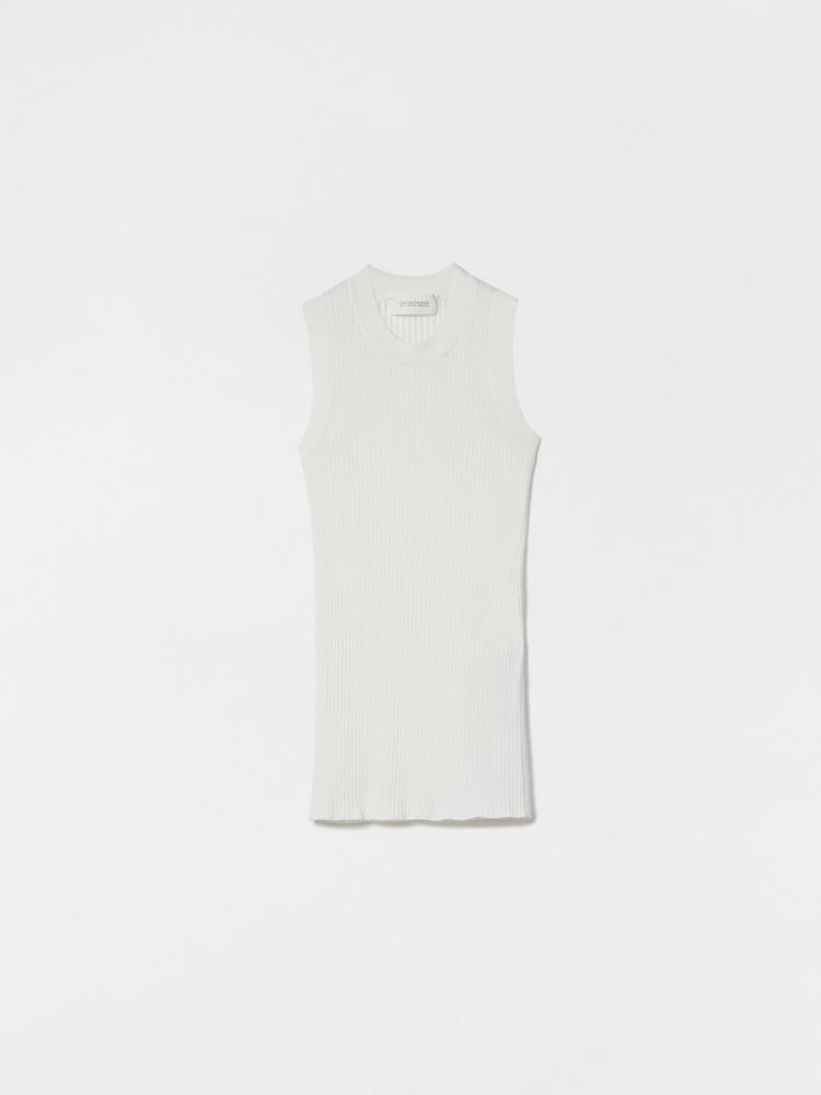 Fine-rib cotton vest top