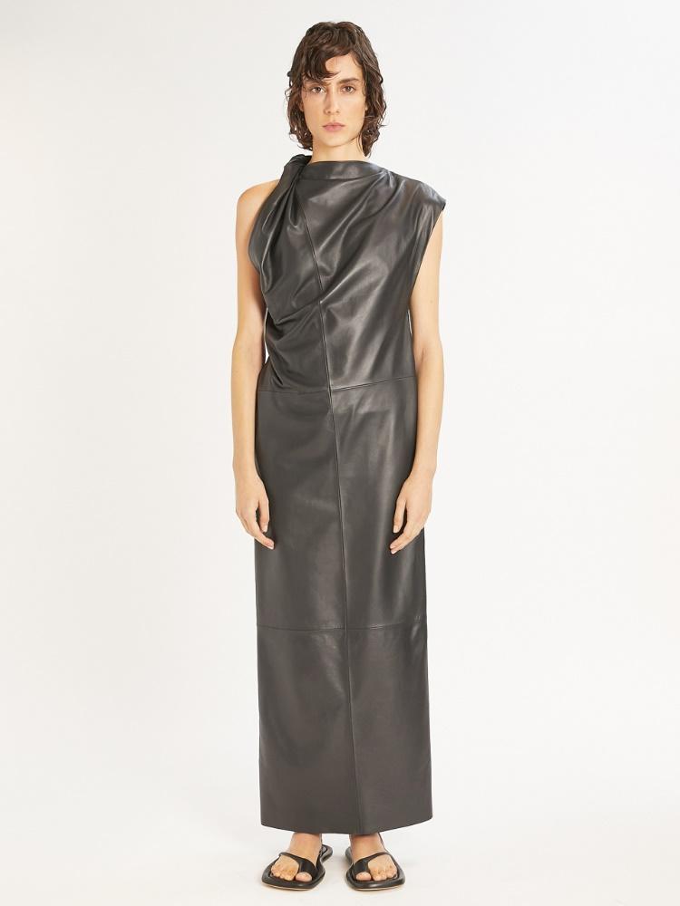 Ärmelloses Kleid aus Nappaleder