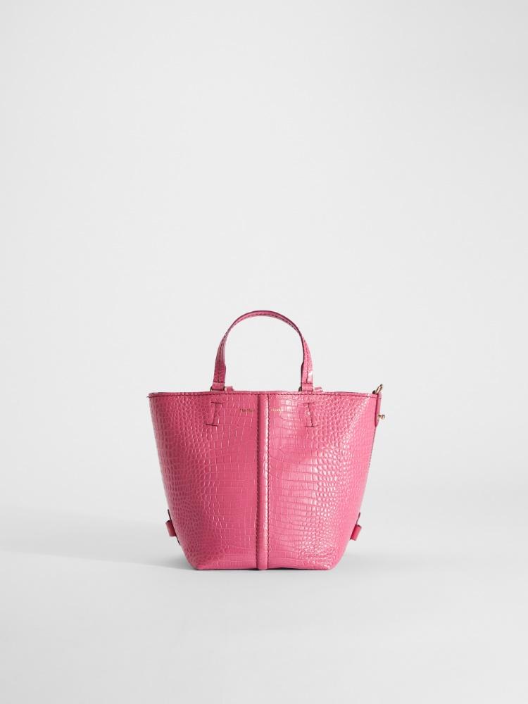 Crocodile-print leather bucket bag