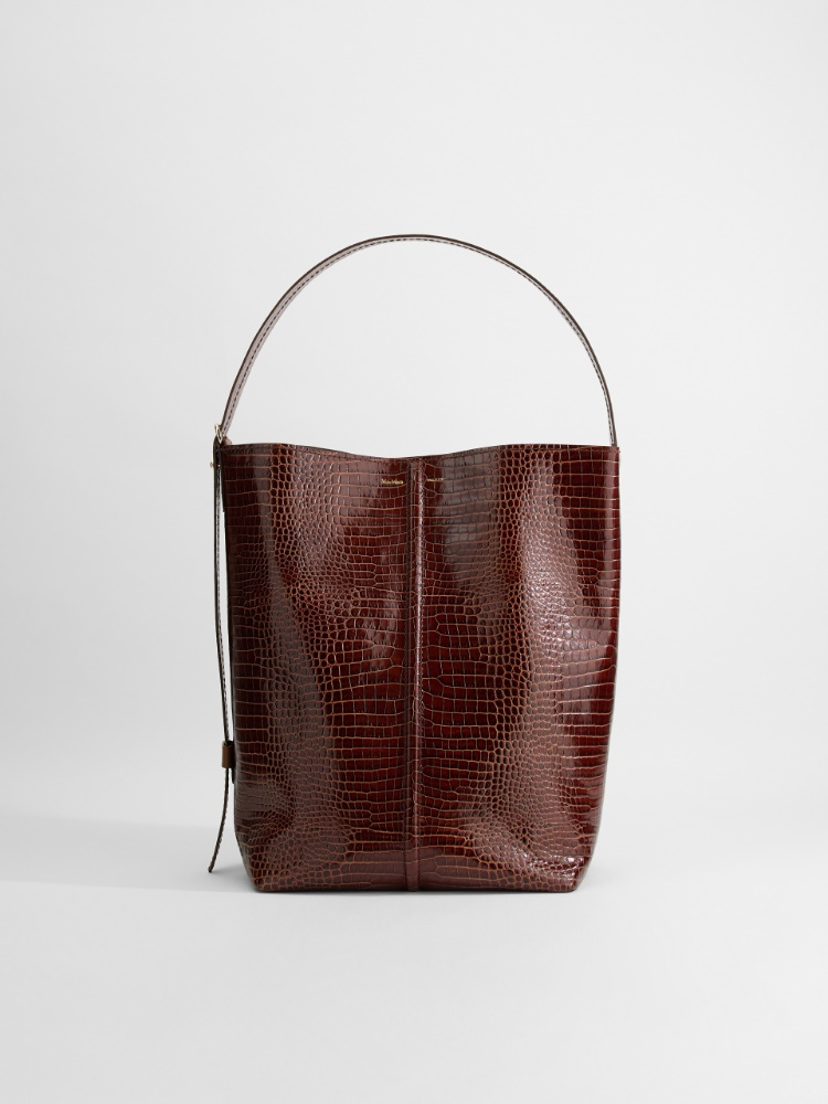 Crocodile-print leather bag