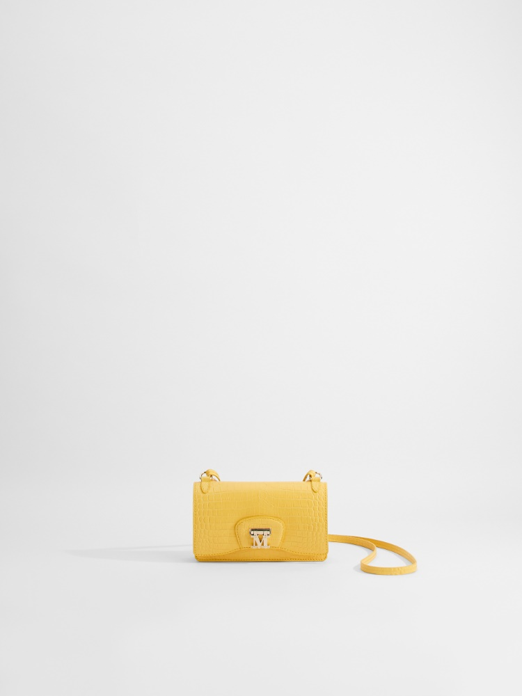 Mini Cross-body bag in crocodile-print leather