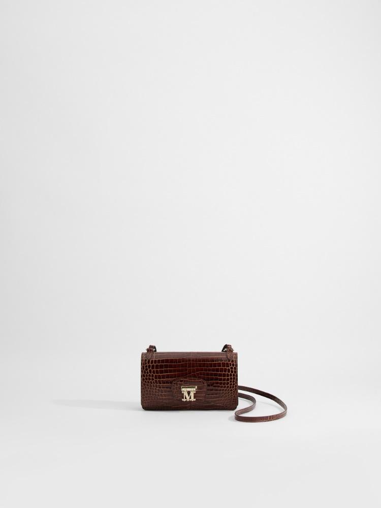 Mini Cross-body bag in crocodile-print leather