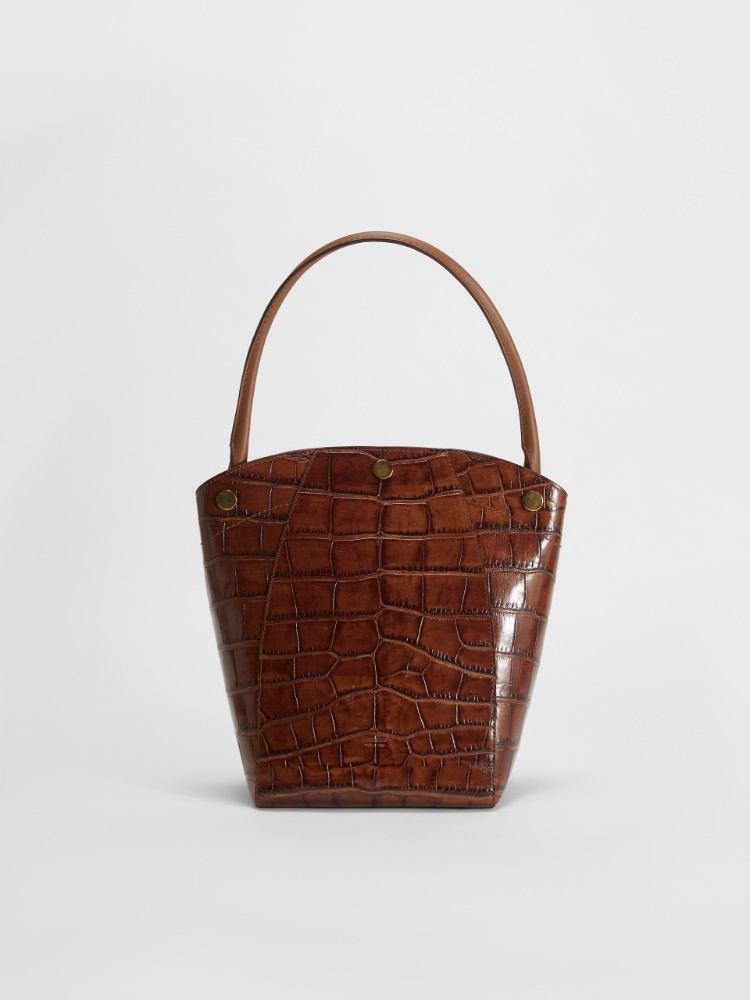 Crocodile-print leather hobo bag