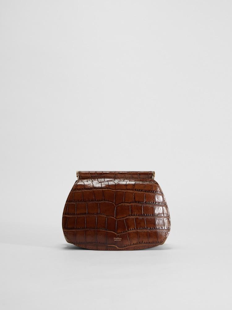 Crocodile-print leather shoulder bag