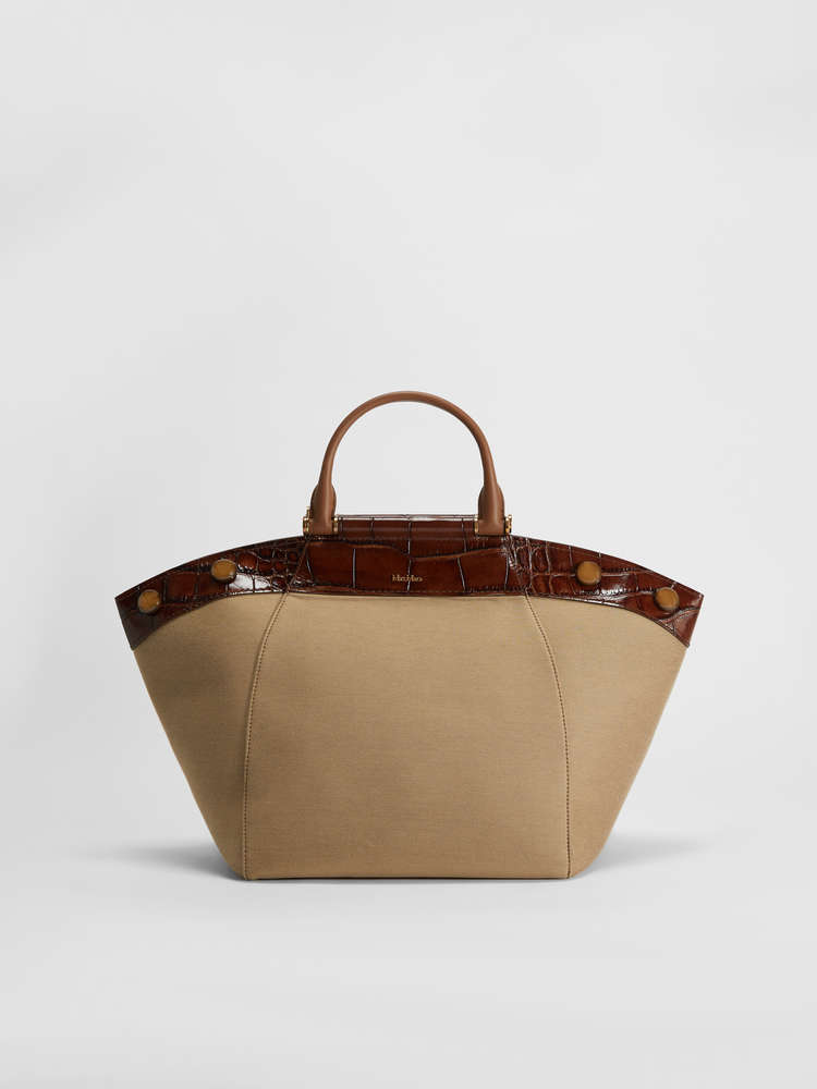 Tote Bag in leather and fabric
