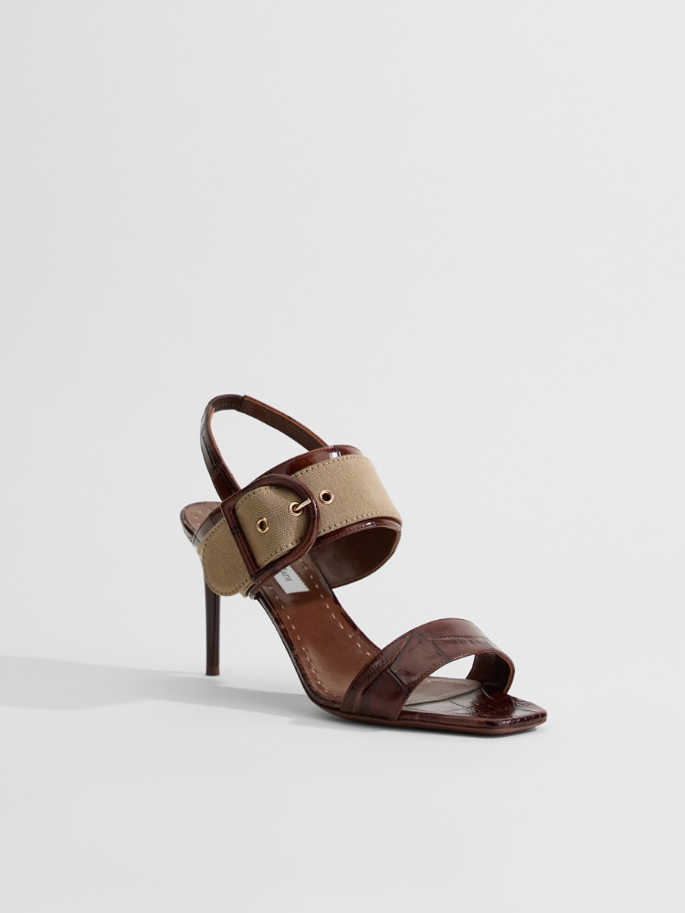 Leather and fabric sandals