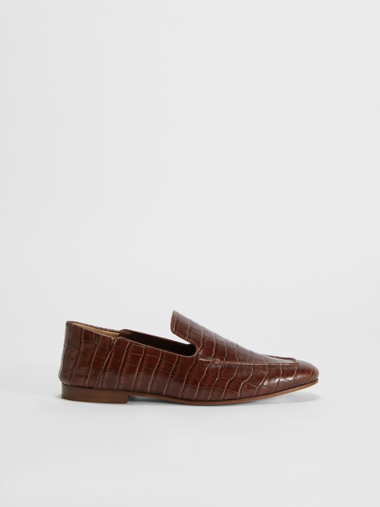 Crocodile-print leather loafers