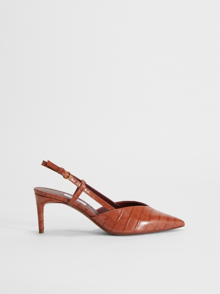 Crocodile-print leather slingbacks