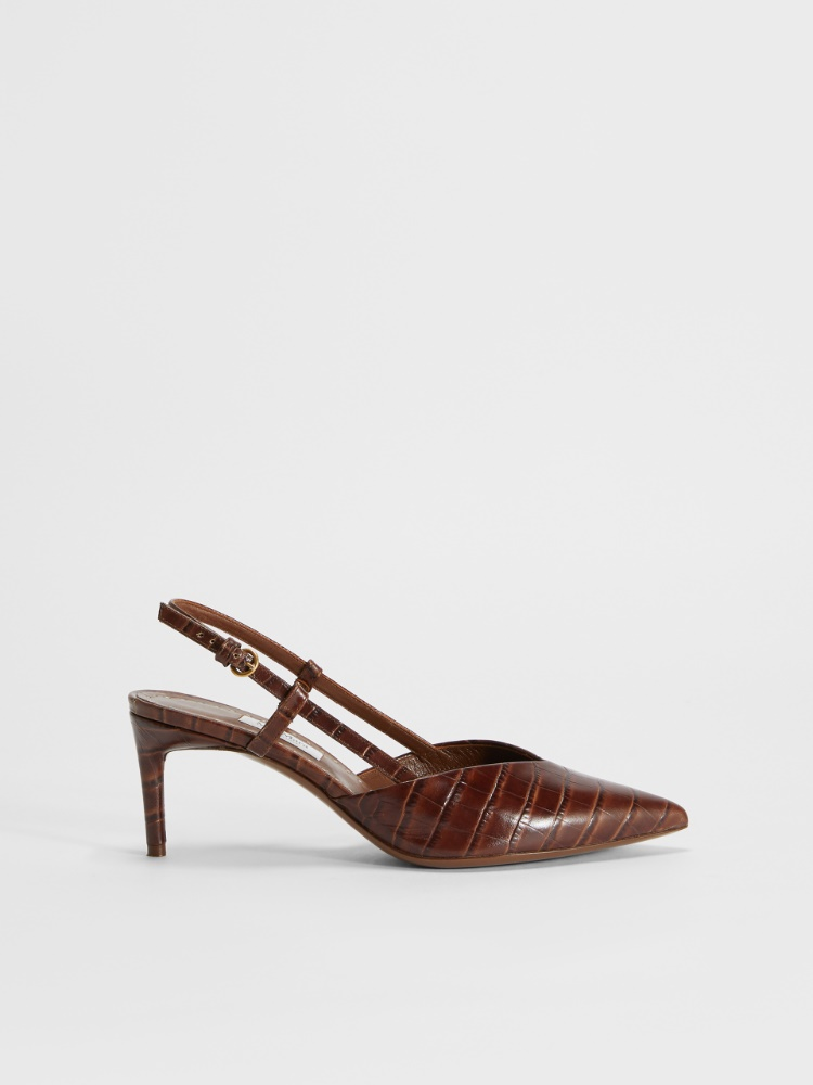 Crocodile-print leather slingbacks