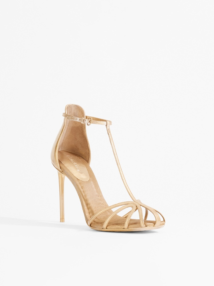 Nappa leather and satin sandals