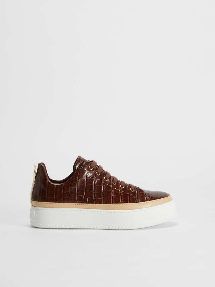 Crocodile-print leather sneakers