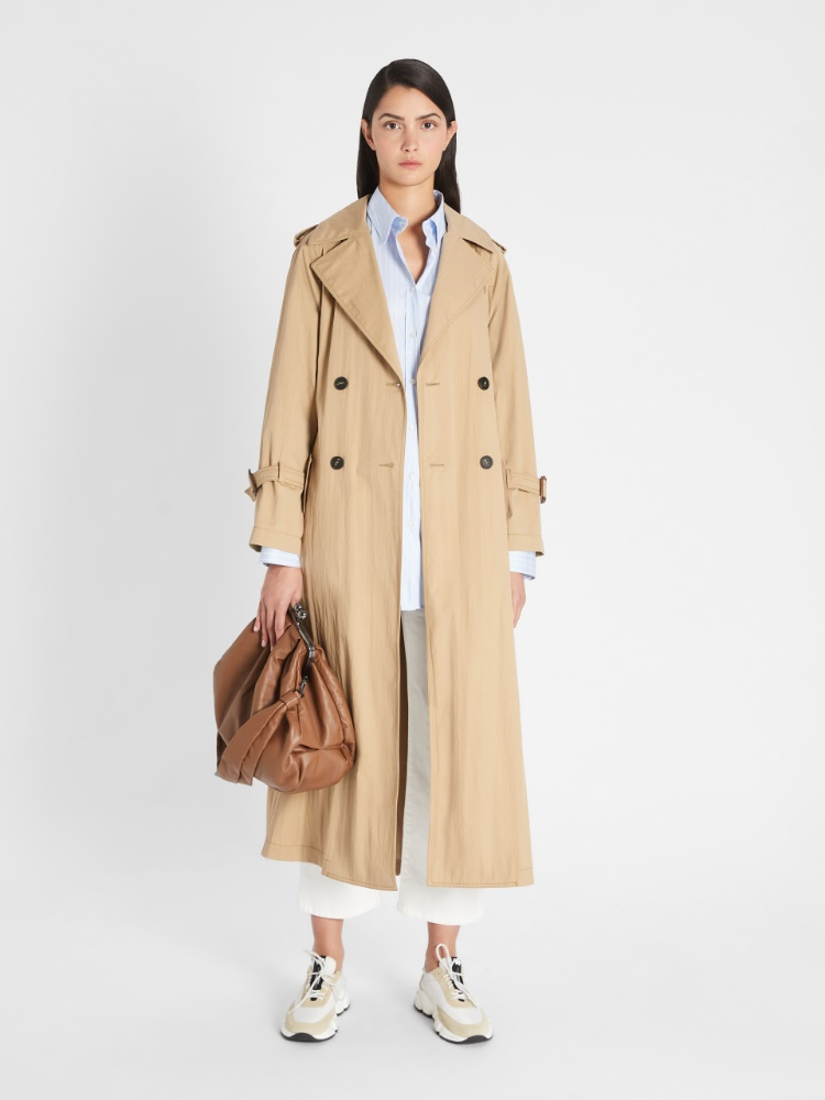 Water-repellent cotton twill trench coat