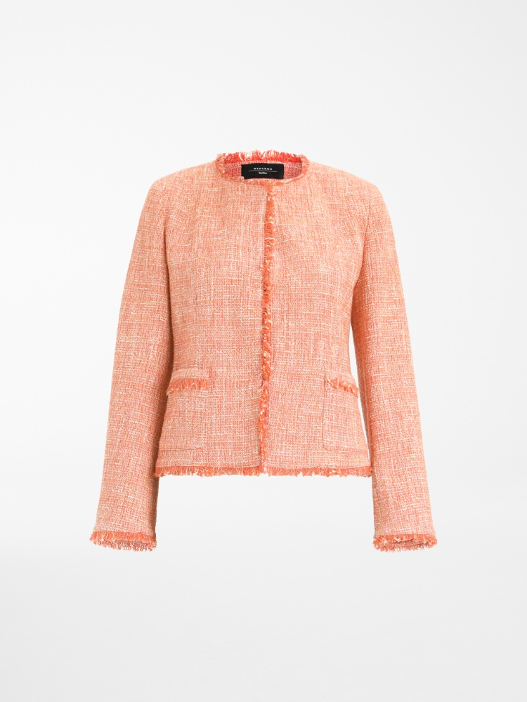 Viscose and cotton basketweave jacket