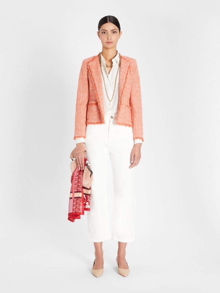 Viscose and cotton basketweave jacket