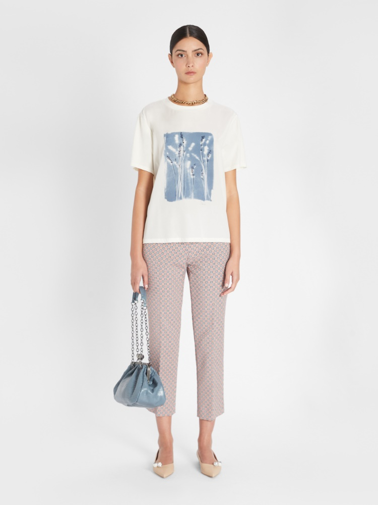 Cotton jacquard trousers