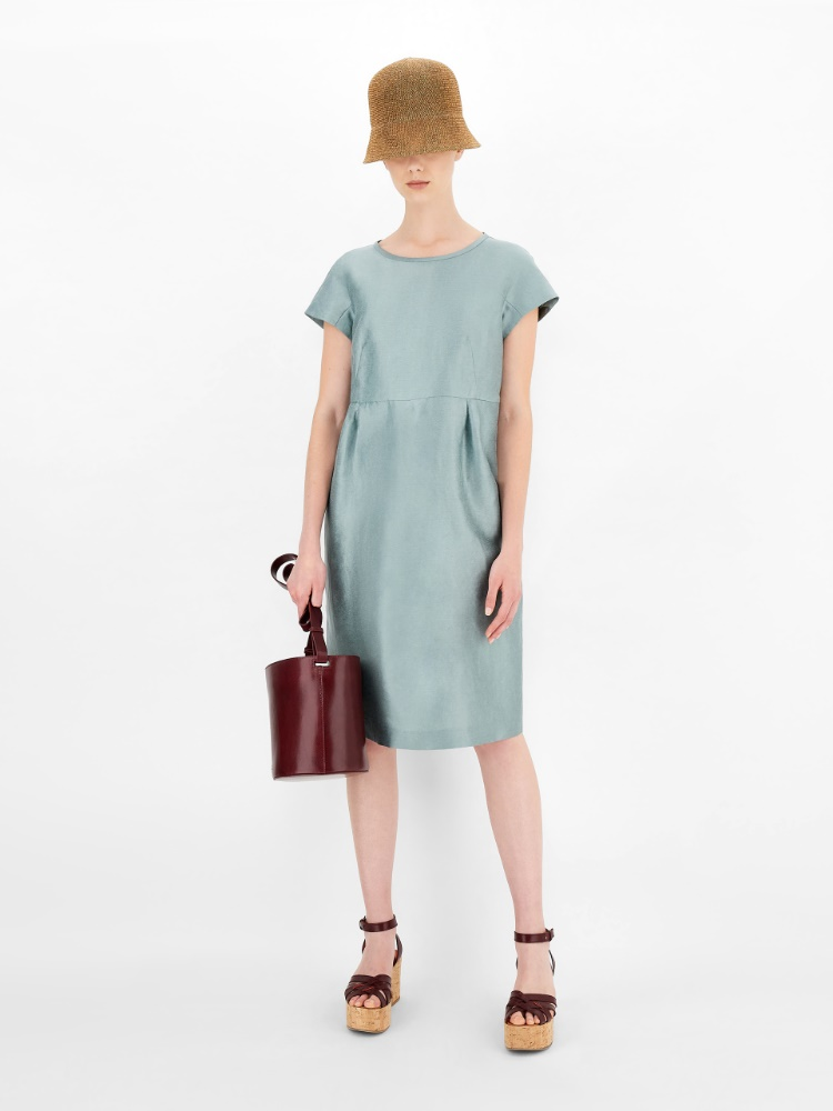 Linen and silk satin dress