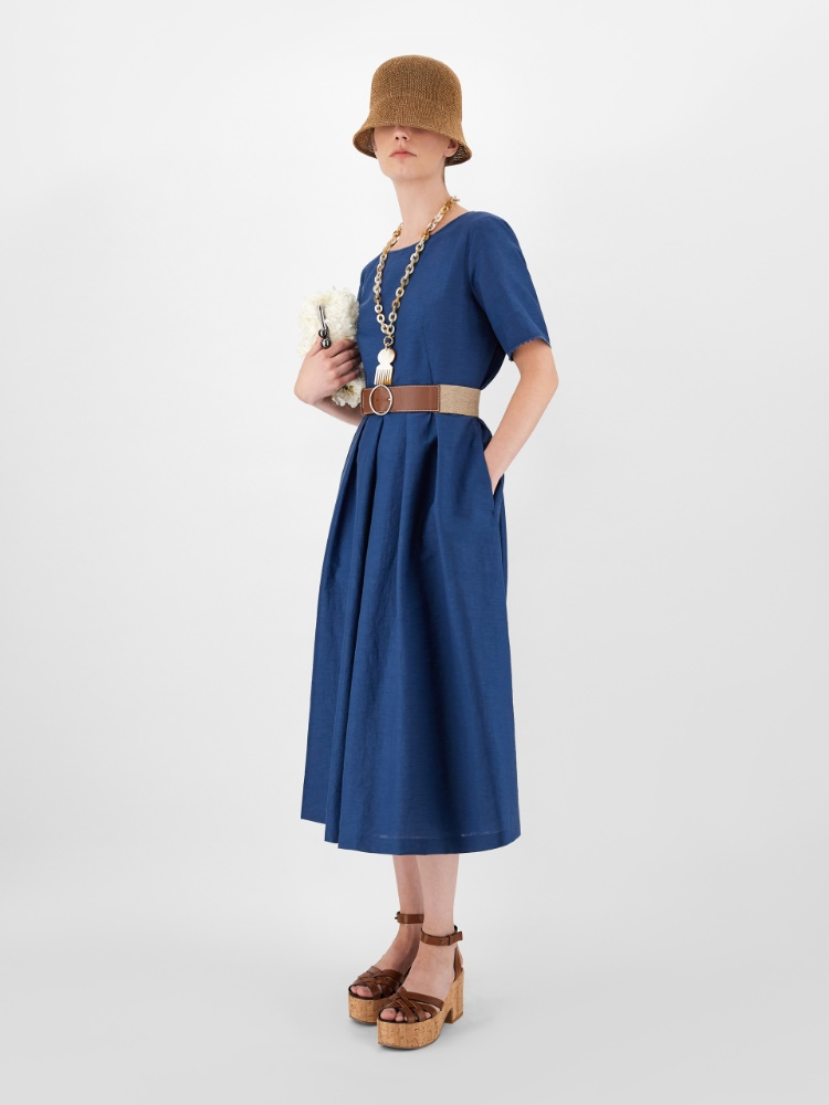 Linen and cotton fabric dress