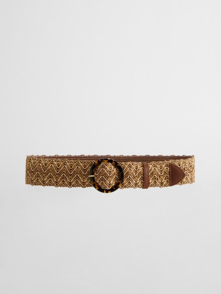 Stretch raffia ribbon belt