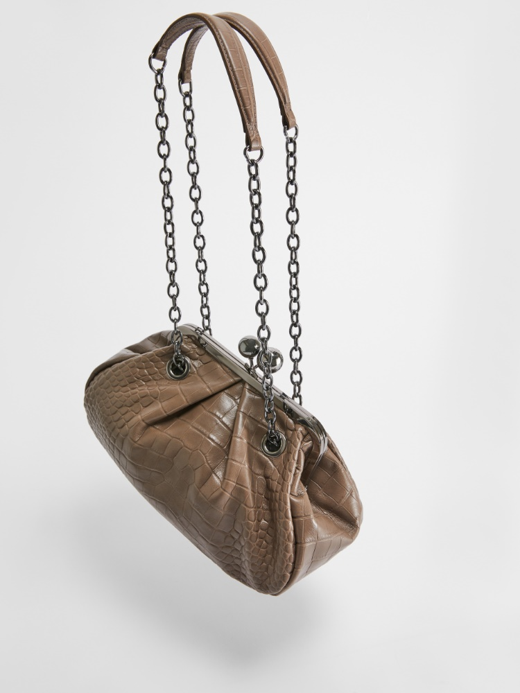 Pasticcino Bag in pelle stampa coccodrillo