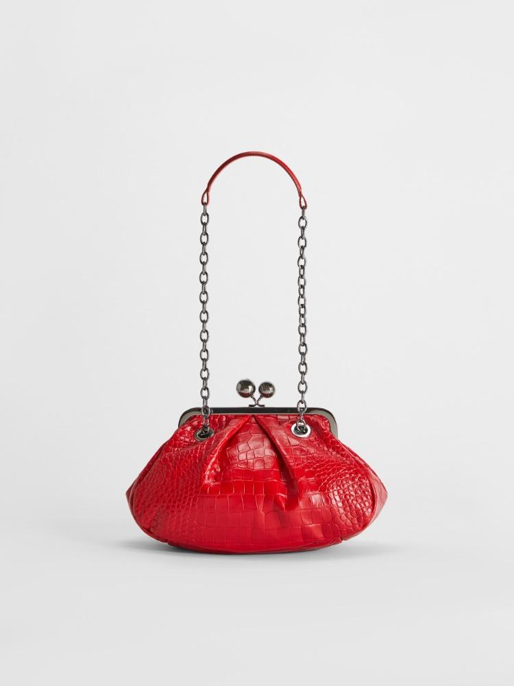 Pasticcino Bag aus Leder mit Krokoprägung