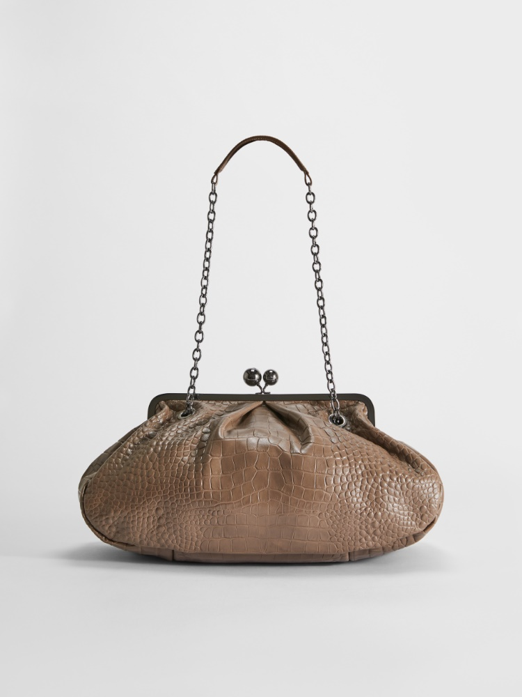 Large croc-print leather Pasticcino Bag