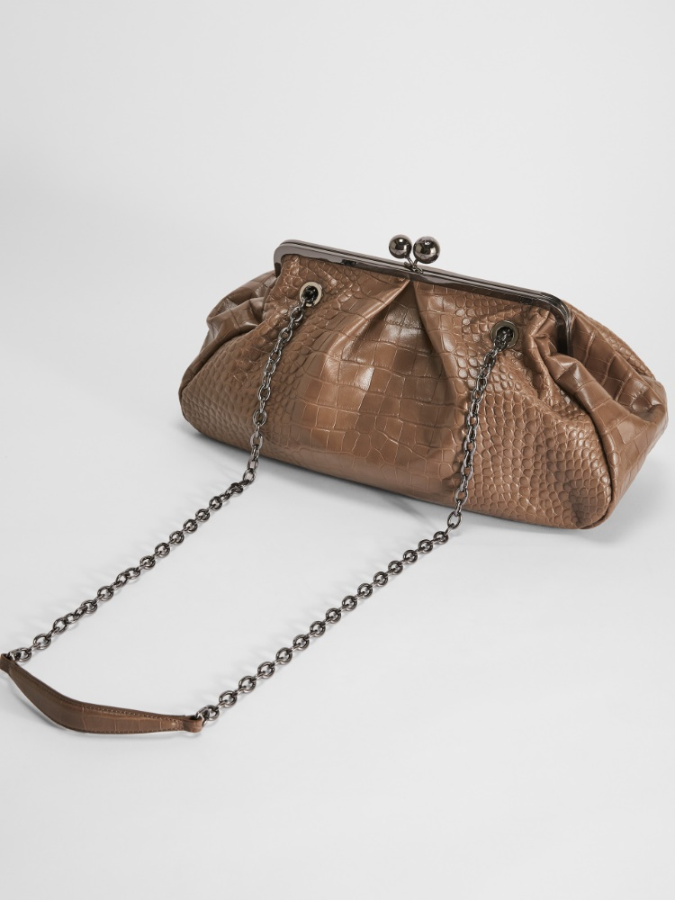 Pasticcino Bag large in pelle stampa coccodrillo