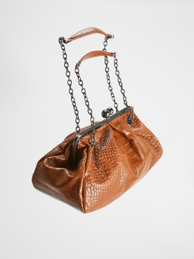 Large croc-print leather Pasticcino Bag