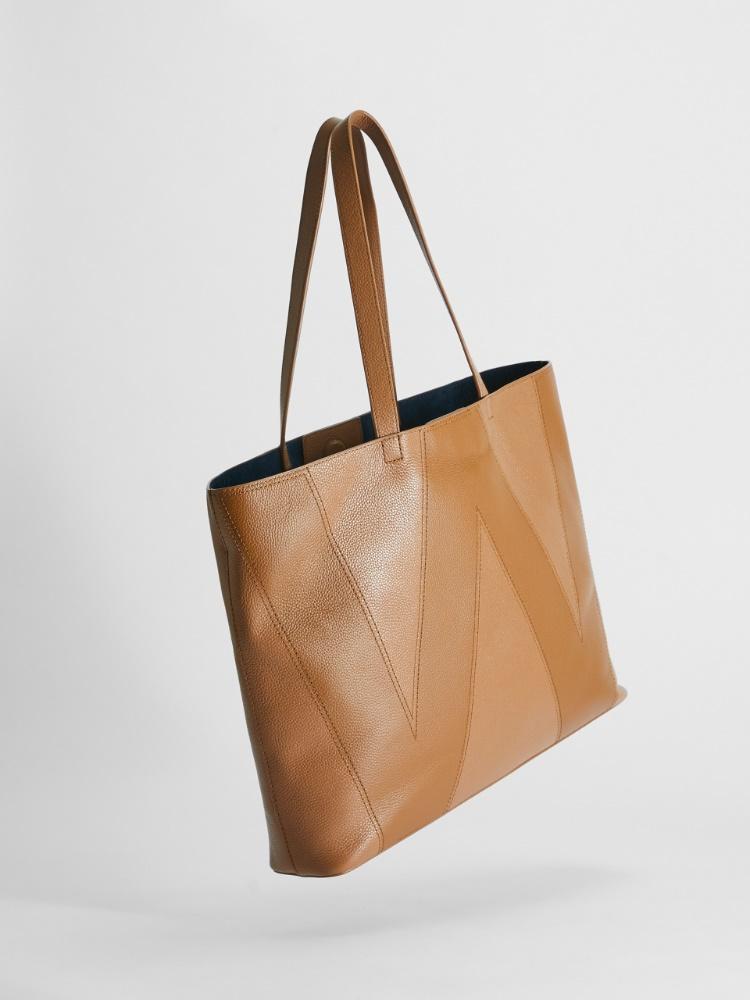 Deerskin-print leather shopper
