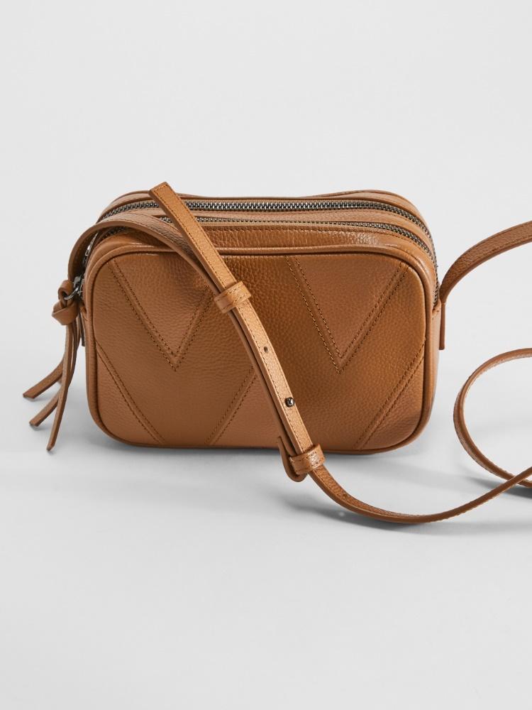 Deerskin-print leather camera bag