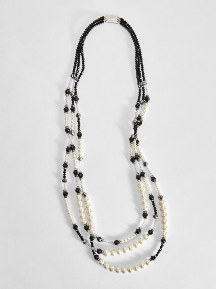 Collar multivueltas con strass y perlas
