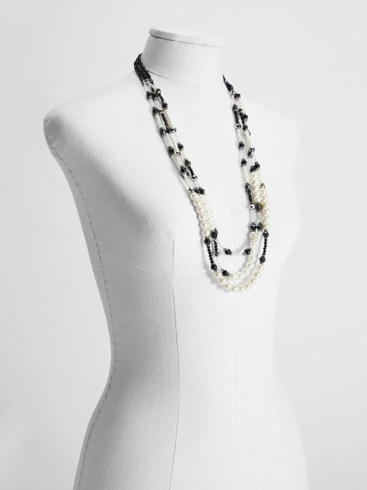 Collana multifili in strass e perle