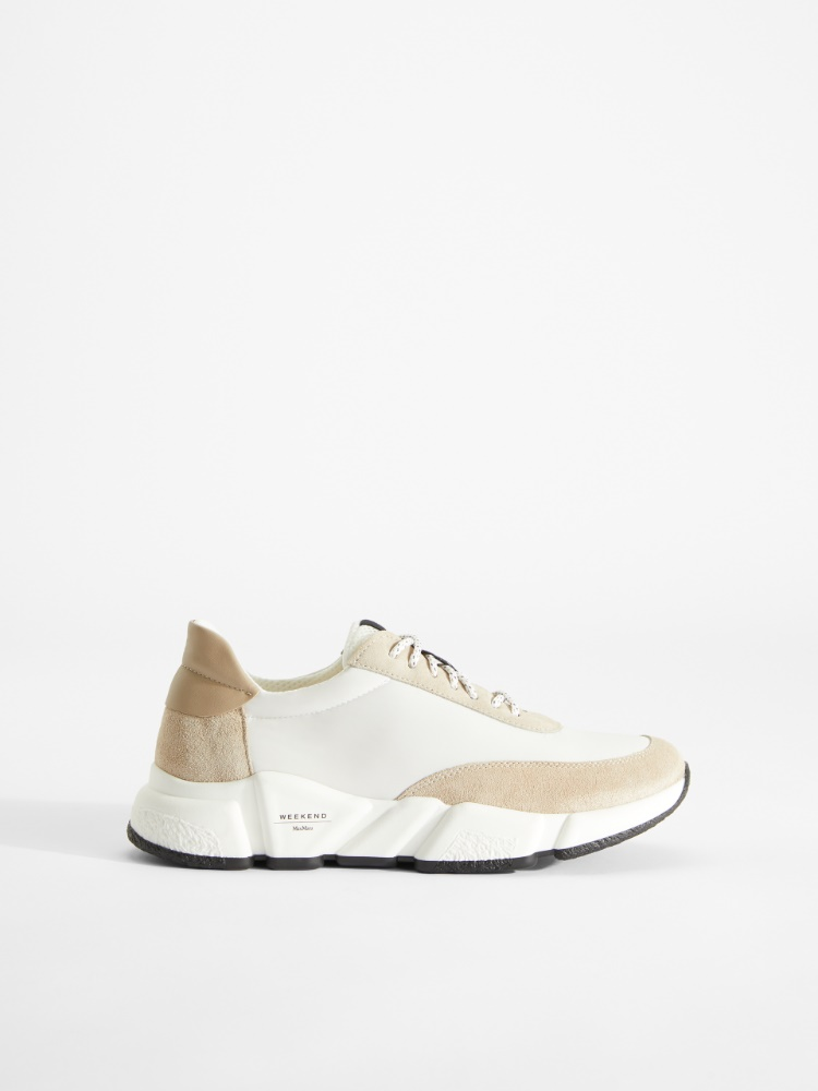 Leather, mesh and suede sneakers