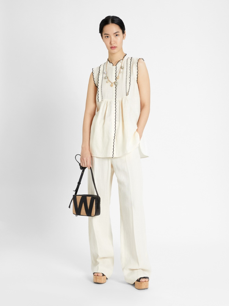 Linen and jersey top